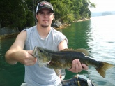 4lb Norris Lake (Tennessee) smallmouth caught on a Spot Remover shakey head with a zoom green pumpkin finesse worm fished at about 30 ft off a steep rock shelf near Hickory Star Marina... He fought like a