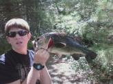 caught this 8 pounder on the nashua river in massachussetts with my dad i caught 4 frogs an hour earlier and we decided to go fishing and i put a frog ont the hook and when it hit the water this guy jumped and swallowed it