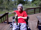 I caught this 2 1/2 lb. Largemouth in my back yard pond on May 2,'11, outside of Buffalo, NY. My biggest is almost 5, but as usual there's never anyone around to take a picture when you need it. Anyway it was caught on a 1/4 oz. white Fuzzy Grub with a chartreuse twister tail. It put up a great fight and was released unharmed.