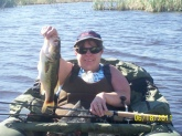 my wife nancy trout float tube bassing in bishop calif.