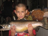 This was cought at Center Hill Dam By my son Junior Denson he is 9 years old . it is a Brown Trout and it was  25 inches and 10 lbs.