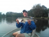 me and one of my freinds were out for the summer last year, and decided to go fishing at Lake Carroll in Carrollton  ga. we had not been fishing long when this monster 11 lb largemouth took the jeeterbug i was fishing with. this fish was 5 oz away from being the lake record. anyboy out there that fishes lake carroll, he is still out there. i let him go.