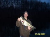 IT WAS LATE EVENING ON MARCH 24TH IN MD I WAS THROWING A POWER BUNGE WORM I CAUGHT SEVERAL 4-5 POUNDERS OUT OF THIS POND ALL WEEK THEN SHE TOOK IT AN RAN SHE WAS BOUT 8 lbs  OR SO NOT BAD FOR A MD BASS