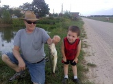 July of 2012. 3 yr old grandson caught on a rapala minnow, and returned to the pond.