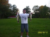 Two big bass cought at local lake in Ohio. The bass on the left was 7lbs and the right one was a 4lb bass.