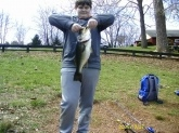 My Grandsons first day out of the year yielded this big female bass on a chatterbait from a small pond