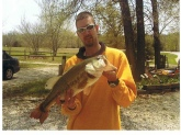 This photo was taken in March 2008. I was fishing a private lake in two feet of water. The fish weighed 8lbs.