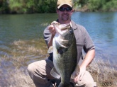 Hello, I got this 13.2lb river bass while jigging rubber worms over tree limbs in the Merced River near Hopten CA. This bass jumped in to the trees trying to break off, but I kept with him and eventually I got em..... whoo hoo Thanks Bill for all those fishing/tips lessons they paid off..