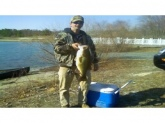 Chuck Colon caught this awesome largemouth bass on 3/22/09 in Vineland, New Jersey. Weighing in at 9 lbs 1.45 ozs. the length was 24 1/4 inches girth 19 3/4 inches. Caught using jig and pig on his St. Croix rod and calcutta reel, it was his first cast of the day.  Chuck has been fishing since the age of 13 and although he has caught many nice fish, this is his biggest so far.