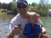 Micah's First Fish - Age 2.5 yr - April 2009 Proud Dad - Nathan Walker  0.5oz Sunfish Old Hickory Lake - Nashville, TN caught on a cricket, 8lb test, Zebco 33 reel, Gamakatsu hook, orange bobber the fight lasted 15 seconds trophy released unharmed