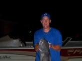 Went night fishing on the alabama river in dallas county and caught this 25 pound blue cat while fishing with cutup  shad on a jug.This is the biggest catfish I have ever caught,and my wife was there to share the excitement with me.