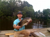 This bass was caught at Cherokee Springs (Spartanburg County, SC) on Friday May 29, 2009 on a Texas Rigged Purple Lizard.  The bass was not weighed, estimate it's weight to be 7-8 pounds.  Released fish back into the pond.