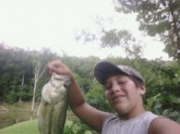 i cought this bass in dalton ga at a pond behind my house with a mans baby bass it was 2 1/2 pounds