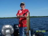 I cought this 27 inc northern on a spinner bait while on a guided tour on trout lake in minocqua wisconsin