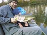 seven pounder caught on the spook in about 40 degree water dad had to hold the sleeping little one and net the fish