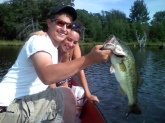 This is my biggest bass i have ever cought, I got it in the summer of 09 in Penfield Pa fishing out of my canoe with my best friend shawn and my girlfriend stephanie. I cought it on a Berkley 7in motor oil worm. Unfortunately I did not have a scale on me and did not want to end its life to find out how much it weighed.