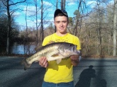bruce cooke caught this fish at woodhaven lake in New Kent VA it weighed 7 1/2lbs in december we had a warm day so we decided to go fishin he caught it on a jig i made from a kit and was very excited and was screamin woooo!! BOO YAHH!