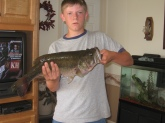 This is one of the largest bass caught out of my 5-acre pond. It weighed 6-7 pounds.