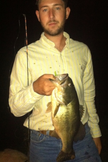 Girlfriends farm late one night caught this bad boy don't know how much he weighed be he sure gave a fight.
