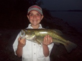 I am 11 yrs. old. I was fishing at Spring Creek in Cortland AL. I was using either a Booyah spinner bait  or a Yum crawfish, Green pumpkin. It was about a 6 to 6 1/2 pounder.