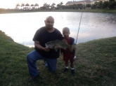 This is my son Diego first 6 1/2 Lb Large mouth Bass. At 3 years old he can cast, and real in his on fish with this one I heped him by holding the middle of the rod but he did all the realing in. Cought on a black platic worm.