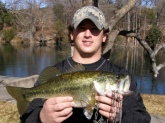 I caught this bass  at the Guadalupe River in Hunt, TX.