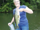 This was my wife's largerst bass she has ever caught. We where fishing @ Crow Creek in Stevenson, AL. She caught the bass on a yellow strike king 3/8oz spinner bait with gold blades. The fish weighed 4 1/2 lbs. She caught this fish on 6/7/12.