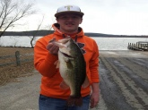 Lake Hinkle Arkansas 5.65 Biggest fish ever caught won my first tournament and big bass with it! Caught on a handmade black and blue jig with a zoom black and blue trailer