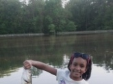 Kayla caught her first bass of the season at a golf course pond on a wacky worm.