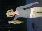 My wife caught this 17 1/2 inch smallmouth. We did not weigh him but estimate it at 2 lbs.