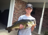 Wednesday June 4, 2014. Caught it on 4 pound test. It's a 6 to 6 1/2 pound bass.