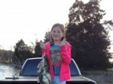 A double limit of crappie caught by Emma and her sister in Fayette County, TN on 3/29/15. She could barely lift the stringer up.