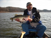 5 lb bass caught Feb 21,2009 about 4 PM on the Dahlonega, Ga. reservoir. Caught on outer edge of grass bank in 9 foot of cold, clear water using a