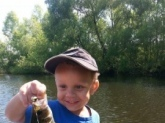 One of My grandsons at 2 1/2 years old fishin for the day in August of 2015 in Nashville,Illinois