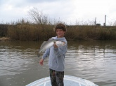 Jordan Mixon caught this speckled trout while fishing with Capt. Lynn Pridgen in the Mobile River on March 14,2009.