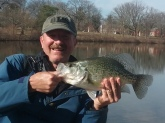 Caught this personal best Crappie 2lbs-9oz 16 1/2 inches on 28FEB2017 shoreline jigging a BPS Crappie Max pearl blue shiner humbug on a slip bobber rig at my home base hole Burba Lake, Fort Meade MD. Prior to this one every Crappie I had ever caught from there had been under 8oz-- imagine my surprise when I saw this on the line!