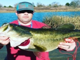 This gal was caught in a private lake in northeastern Texas. She weighed in at 12.9 lbs and was close to 28 inches long.