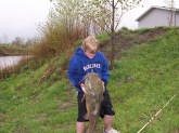 I caught this Flathead catfish in nebraska with a live bluegill. It weighed 5lbs and was about 43 inches long.