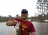 caught on a blue and chartreuse(spelling) 1/2oz. spinner bait in three and a half feet of water in late-afternoon. this big ol' pig weighed in at 9lbs 6oz. and still had a perch in its mouth which looked to have been freshly eaten.