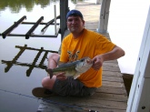 Caught off my dock on Hyco Lake, NC. About 5 lbs on a green carolina rigged lizard. Caught and released in April.