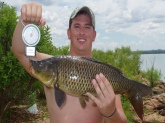 Caught this common carp in Abilene, TX on corn. It is less than one pound off the lake record.
