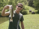 I caught this bass in Dalton, GA. At a backyard pond. Was using a frod chatter bait with my rino baitcasting rod and reel.