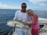Shayne Miller with his 10 year old Daughter Savanna. Savanna caught this Jack in the St. Lucie Inlet in Stuart FL
