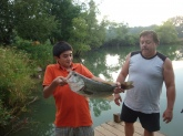 This my grandson Daniel, 12 yrs old,and uncle, the bass was caught by grandson, great job