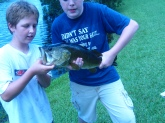 i caught this of a small fish and it was about 6 pounds 11 ounces and i am only 13 and it put up a fight and a good one at that it was fun to see it jump out of the water and know that i caught it