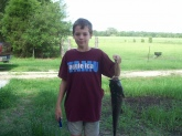 caught in farm pound. weighed 5lbs and was 24 inches long. caught with blood bait, in 10ft. of water.