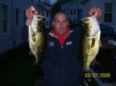 caught these two hogs in my favorite spot at dog pond in goshen ct caught them back to back on 5/8 split jitter bug 2 am on a full moon.the fish on the right weighed 6 pounds 13 ounces and the one on the left 4 pounds 2 ounces theses are two of many caught that night.