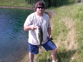 This nice 2lb. 7oz. Bass took my shiner in a drainage ditch in Ferndale Md. on June 19th 2010. Always practice catch & release so you can catch them when they get bigger.